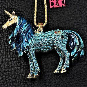 "NEW Exquisite 3"" Crystal Rainbow Unicorn Necklace"